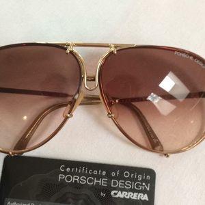 Porsche vintage sunglasses with 18k gold rim